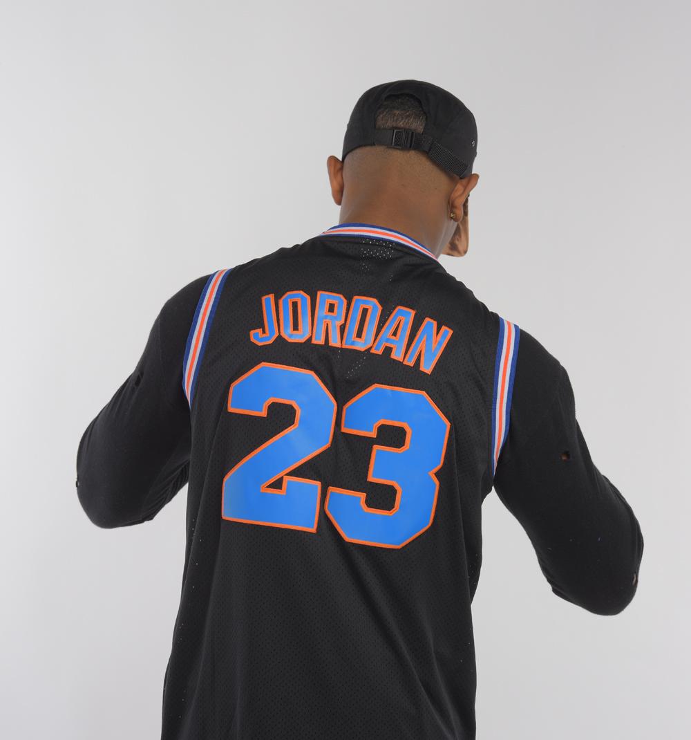 new styles 26b3c 9fc2c Michael Jordan Black 'TuneSquad' Throwback Basketball Jersey